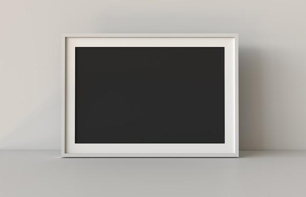 Leeg afbeeldingsframe met tabel en muur achtergrond