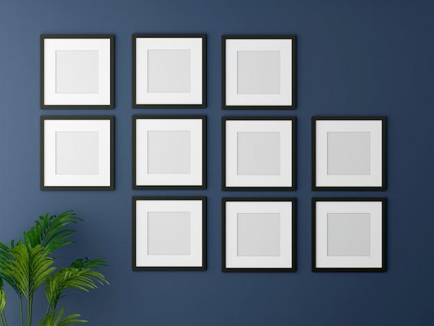 Leeg afbeeldingsframe mock-up op de blauwe muur. 3d-weergave.