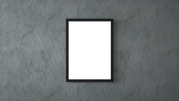 Leeg afbeeldingsframe op betonnen muur. 3d-weergave.