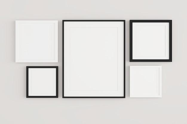 Leeg afbeeldingsframe opknoping op de muur in een woonkamer.