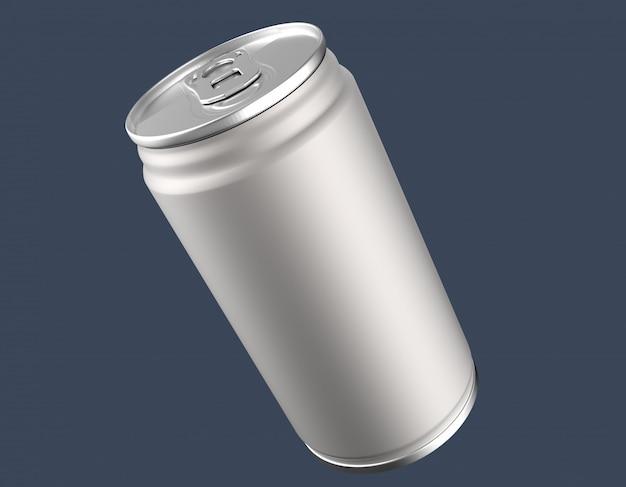 Leeg aluminium kan mockup op duidelijke achtergrond.