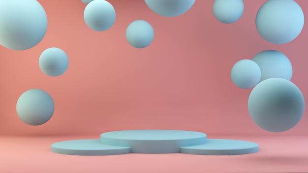 Leeg blauw podium met zwevende bollen en roze achtergrond
