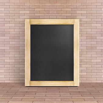 Leeg bord die bij rode baksteenvloer en muur leunen