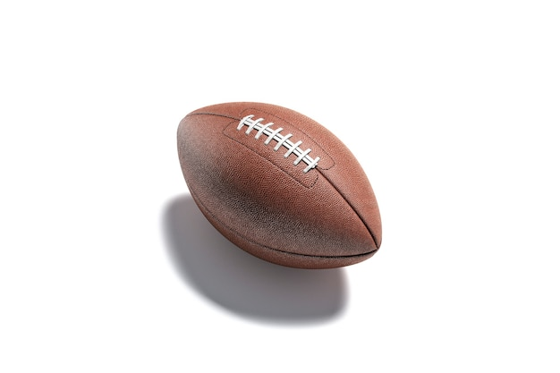 Leeg bruin amerikaans voetbalbalmodel leeg rugby of voetballeerbalmodel geïsoleerd