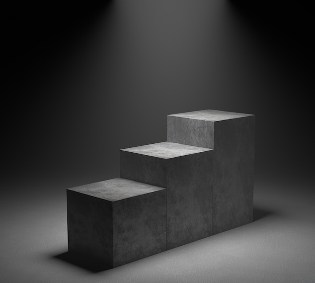 Leeg concreet podium op schijnwerperachtergrond