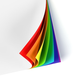 Leeg document met regenboogkleurige gekrulde hoek