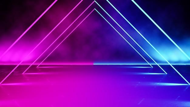Leeg driehoekig gevormd neonlicht met rook