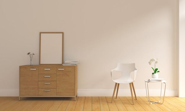 Leeg fotokader in moderne woonkamer
