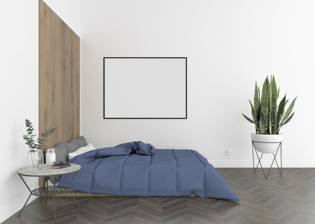 Leeg fotokader of kunstwerkkader voor binnenhuisarchitectuur van slaapkamer