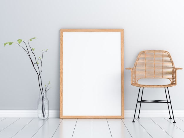Leeg fotokader voor mockup en houten stoel
