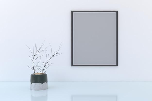Leeg frame met decoratieve plantenvaas op de vloer