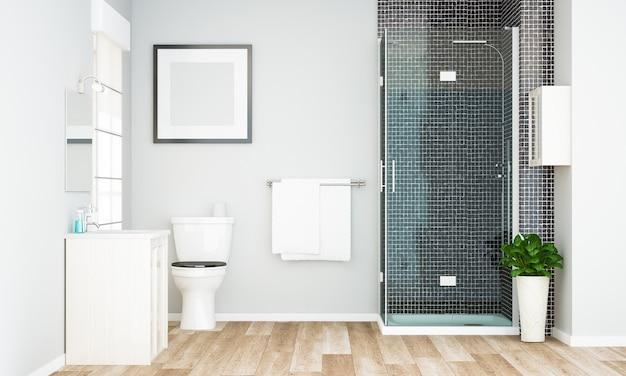 Leeg frame mockup op minimale grijze badkamer