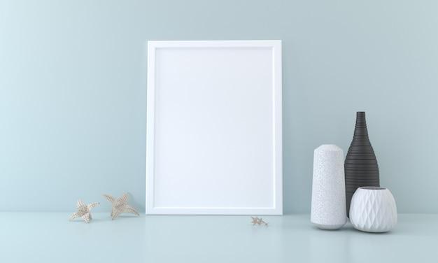 Leeg framemodel met vazen