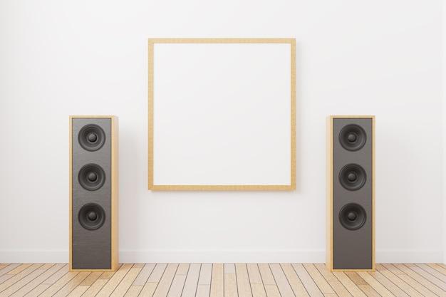 Leeg framemodel voor een vierkant gevormd schilderij. leeg beeld tegen de achtergrond van muziekspeakers in een minimaal interieur. 3d weergegeven.