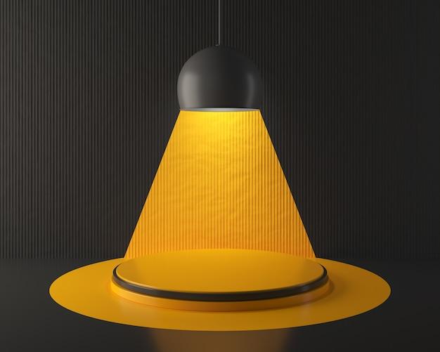 Leeg geel scènepodium of podium voor productweergave achtergrond, 3