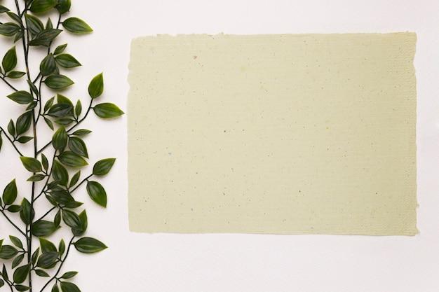 Leeg geweven document dichtbij de groene installatie op witte achtergrond