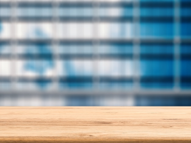 Leeg houten bureau met bureauachtergrond