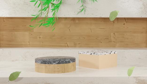 Leeg houten en terrazzo podium met bladeren en houten achtergrond 3d-rendering lente en herfst