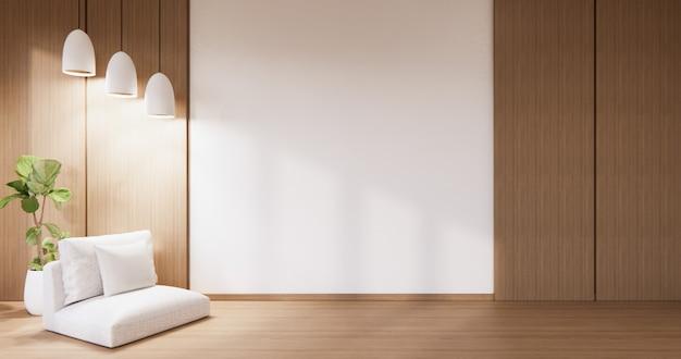Leeg houten muurontwerp en minibank japanse stijl