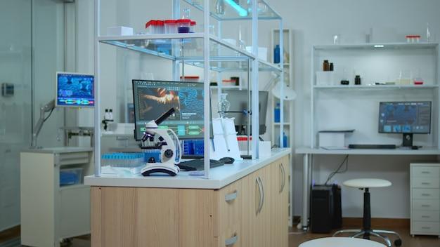 Leeg laboratorium modern uitgerust met niemand erin, voorbereid op farmaceutische innovatie met behulp van hightech- en microbiologische hulpmiddelen voor wetenschappelijk onderzoek. vaccinontwikkeling tegen covid19-virus.