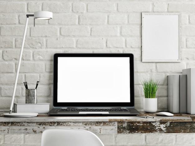 Leeg laptopframe op minimaal bureau met planten- en kantoorspullen