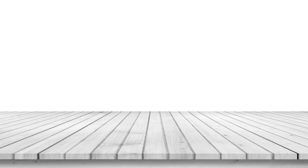 Leeg licht wit houten tafelblad isoleren op witte achtergrond