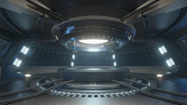 Leeg lichtblauw studioruimte futuristisch binnenland met leeg stadium met blauw lichten.