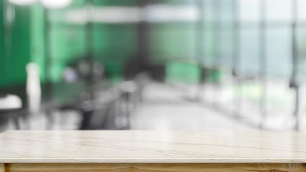 Leeg marmeren bureau met onscherpe achtergrond