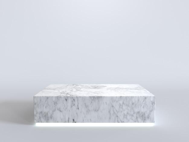 Leeg marmeren podium met neonlicht dat op witte achtergrond gloeit