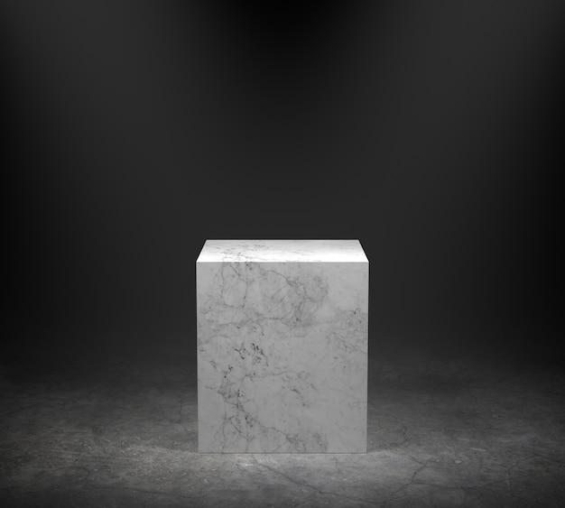 Leeg marmeren podium op concrete vloer met schijnwerperachtergrond