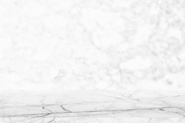 Leeg marmeren tafelblad op marmeren muur echte marmeren oppervlaktetextuur wit grijs