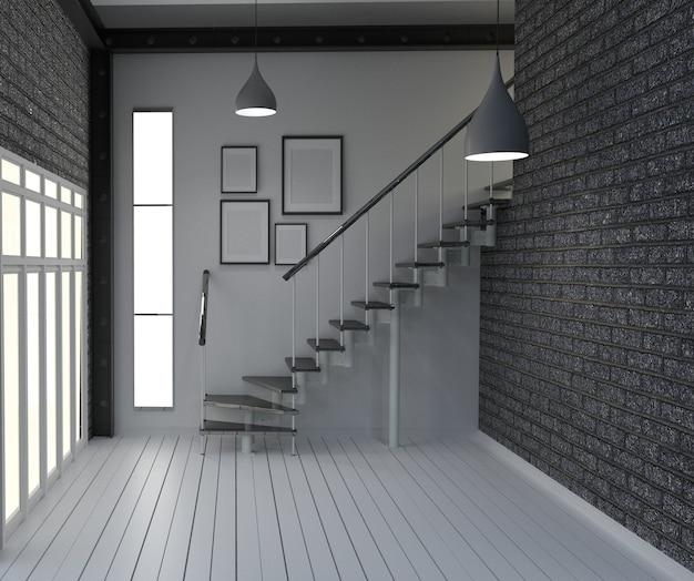 Leeg, modern woon- interieur in loftstijl. 3d-rendering