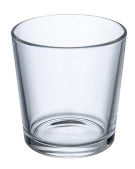 Leeg nieuw glas dat op wit wordt geïsoleerd