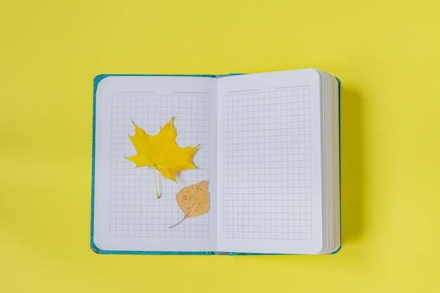 Leeg open notitieboekje met esdoorn en berkbladeren op geel. leeg dagboek
