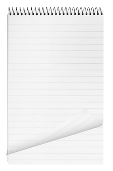 Leeg oppervlak. papieren spiraal notebook geïsoleerd op whit