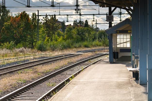 Leeg perron met spoorlijnen en stationsgebouwen met het oog op bomen in een reisconcept
