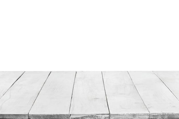 Leeg perspectief, houten planken of tafelblad geïsoleerd op een witte achtergrond. kan worden gebruikt als sjabloon en mockup voor weergave of montage van uw producten. sluiten, ruimte kopiëren