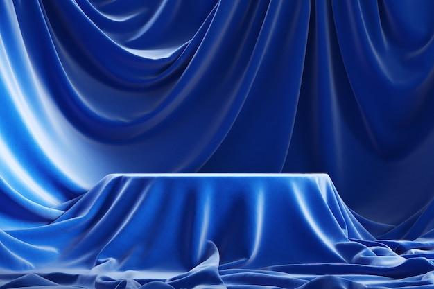 Leeg podium bedekt met blauwe doek, 3d Premium Foto
