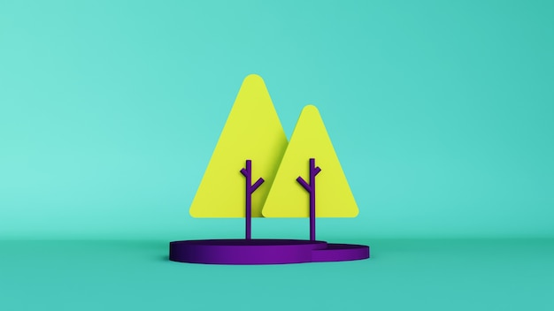 Leeg podium of voetstukvertoning op kleurrijke achtergrond met het gele concept van de boomtribune