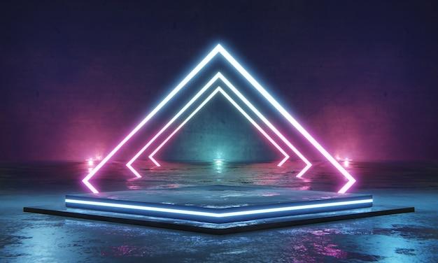 Leeg podium voor productenvertoning met neonlicht