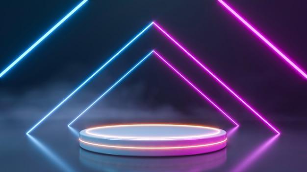Leeg podium voor productenvertoning met rook en neonlichtmuur. 3d-weergave