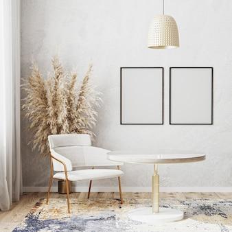 Leeg posterframe mockup in lichte kamer met luxe ronde eettafel, 3d-rendering