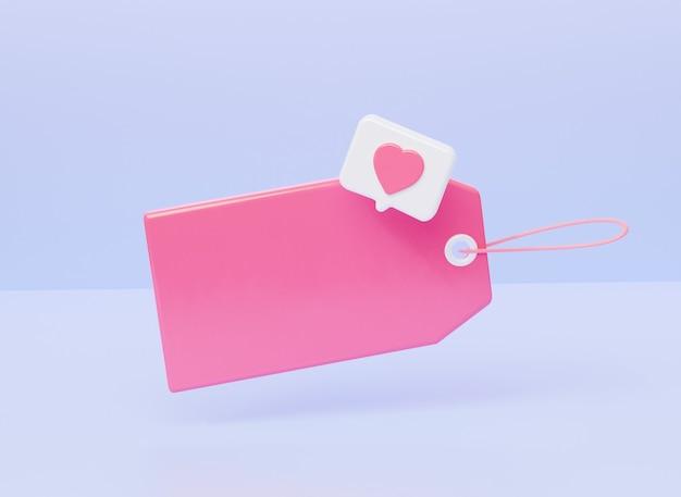 Leeg prijskaartje met pictogrammelding als hart. 3d-rendering illustratie.