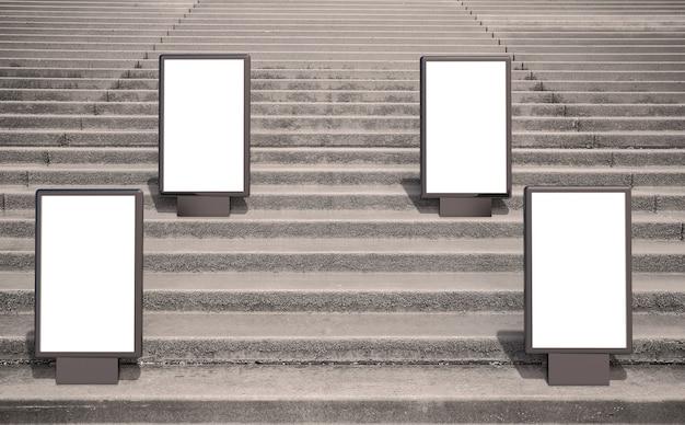Leeg reclamemodel in de straat. poster bord met trappen achtergrond