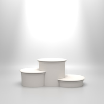 Leeg rond wit podium.
