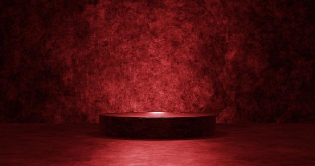 Leeg rood podium voor weergaveproduct.