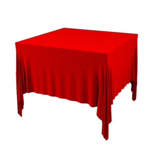 Leeg rood tafelkleed dat op witte achtergrond wordt geïsoleerd. 3d-afbeelding.