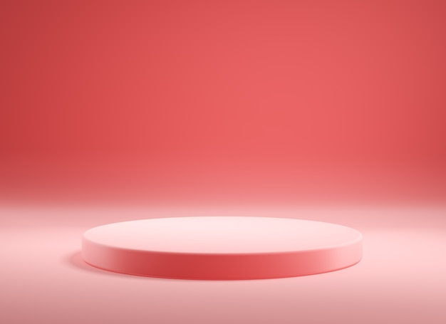 Leeg roze 3d productpodium