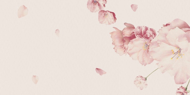 Leeg roze bloemenkaartontwerp