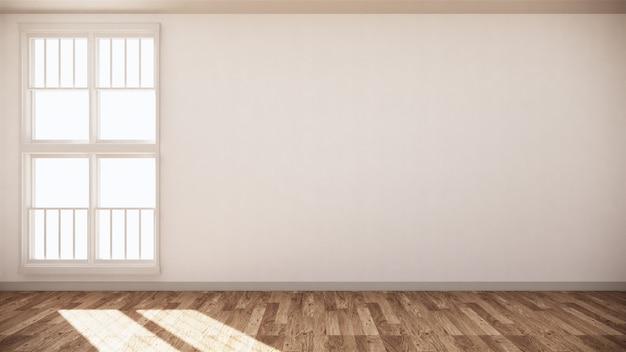 Leeg ruimtewit op houten vloer binnenlands ontwerp. 3d-weergave